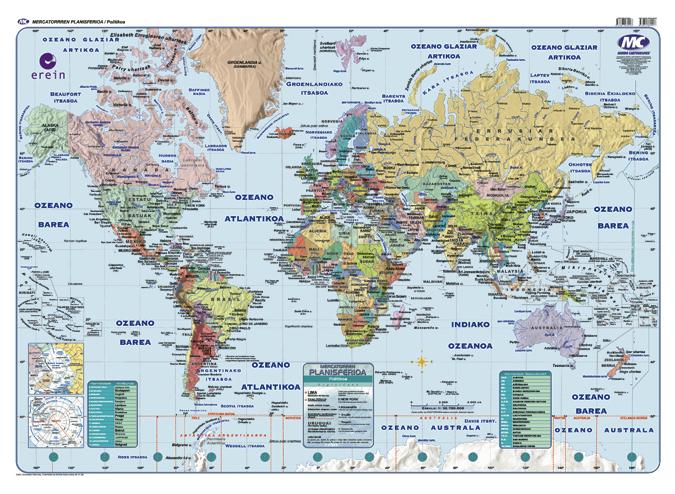Munduko mapa fisiko/politikoa